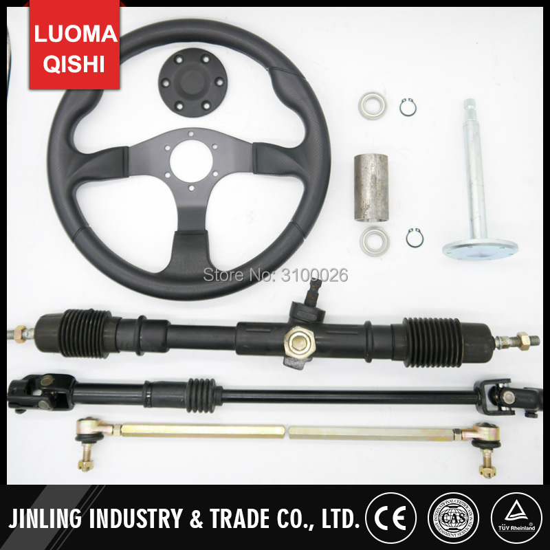 350mm Steering wheel 630mm Rack & Pinion 610mm adjust U Joint Tie Rod Fit For China Go Golf l Kart Buggy Karting UTV Bike Parts 320mm steering wheel 630mm rack