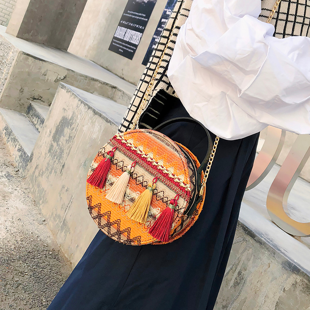 Women Tassel Chain Small Bags national wind round bag packet Lady Fashion Round Shoulder Bag Bolsos Mujer#A02 85