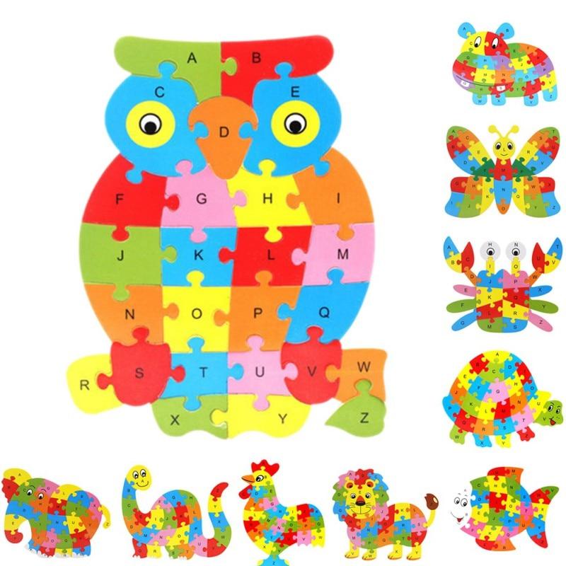 Wooden Animal Elephant <font><b>Dinosaur</b></font> <font><b>ABC</b></font> Alphabet Learning 3D Puzzles Jigsaw Intelligence Games Toys For Children Kids hot sell
