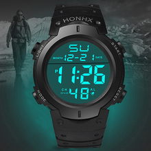 Men's Waterproof Electronic Watch Large LCD Dial with PU Str