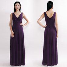 d1ee8ca99d Zawsze bardzo tanie suknie wieczorowe proste linia głębokie V Neck  fioletowy formalna suknia klasyczna 2018 plisowana szyfonowa .