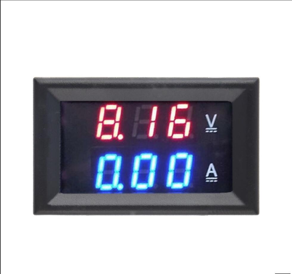 Цифровой вольтметр, амперметр постоянного тока 0-100 в, 10 А, двойной дисплей, детектор напряжения, панель измерителя тока, амперметр, 0,28 дюйма, красный, синий, светодиодный