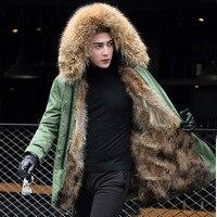 Съемный мех енота лайнер теплые зимние куртки мужские Воротник из меха енота с капюшоном парки любителей натуральный мех внутри на пальто