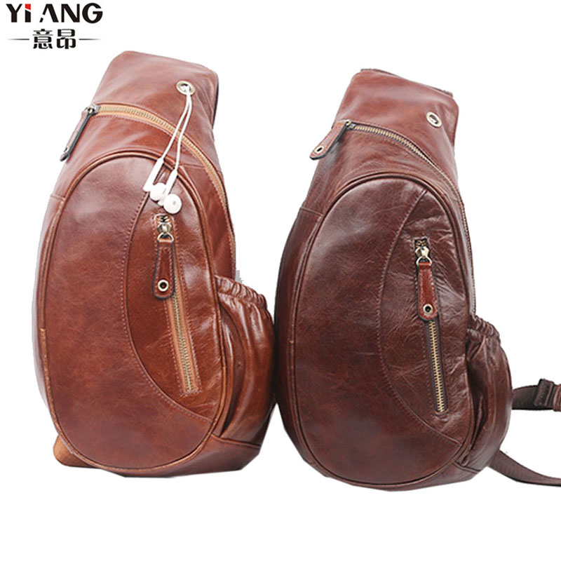 Men High Quality Sling Chest Bag Oil Wax Genuine Leather Cowhide Messenger Shoulder Cross Body Bag Travel Climb Leisure pack men high quality oil wax genuine leather cowhide messenger shoulder cross body bag travel vintage sling chest back day pack