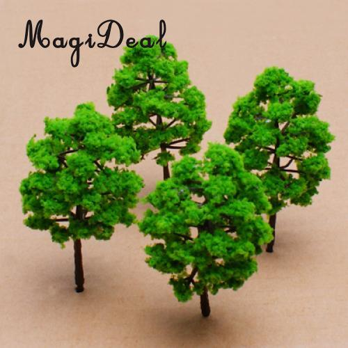 MagiDeal 10Pcs Mini Scale Model Trees Train Railway Street Plastic Trunks Green Scenery Landscape for Park Garden House Decor