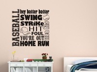 Sport BASEBALL COLLAGE SUBWAY Words Lettering Vinyl Wall Decal Mural Art Wall Sticker Boys Bedroom Home Decoration