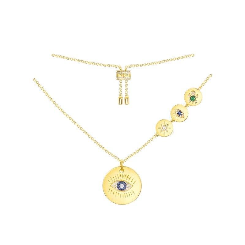 [MeiBaPJ] personnalité AAA Zircon pendentif oeil chanceux collier pendentif 925 en argent Sterling collier fin bijoux pour les femmes