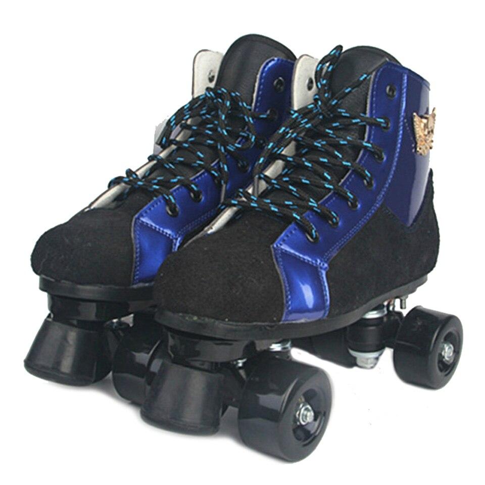 Enfants adultes Double rangée patins à roulettes deux lignes violet bleu rouleau chaussures parentales Patines PU/clignotant roues baskets IB10