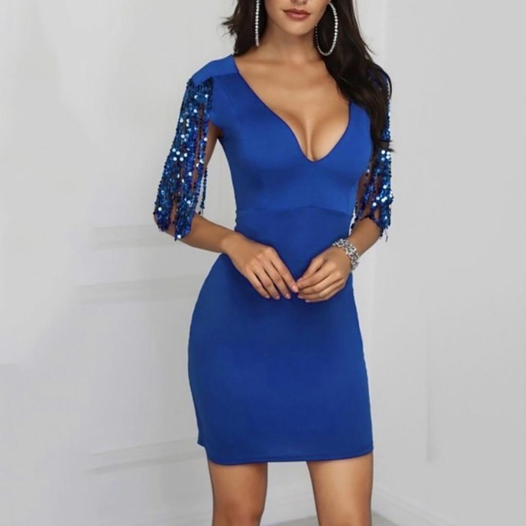 188ab6859fc Женские летние сексуальные платья Клубные блестящие глэм пайетки v-образный  вырез оболочка без рукавов платье