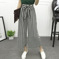 New Pants Women 2017 Spring Summer Striped Nine Pants Casual High Waist Elastic Wide Leg Pants Plaid Print Fashion Trousers 1358