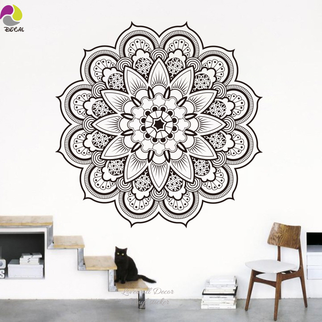namaste mandala wall sticker living room diy yoga lotus wall decal
