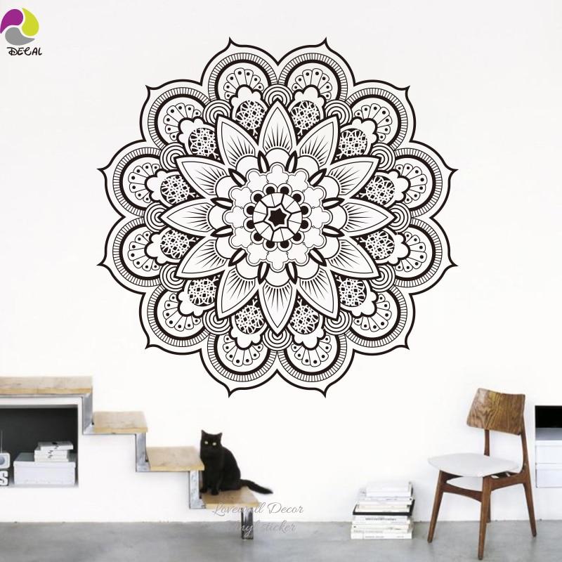 Namaste Mandala Sticker Mural salon bricolage Yoga Lotus Sticker Mural inde bouddha ornement Om Symnol Murais Mural chambre