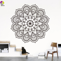 Namaste Mandala Wall Sticker Living Room DIY Yoga Lotus Wall Decal India Buddha Ornament Om Symnol Murais Mural Bedroom