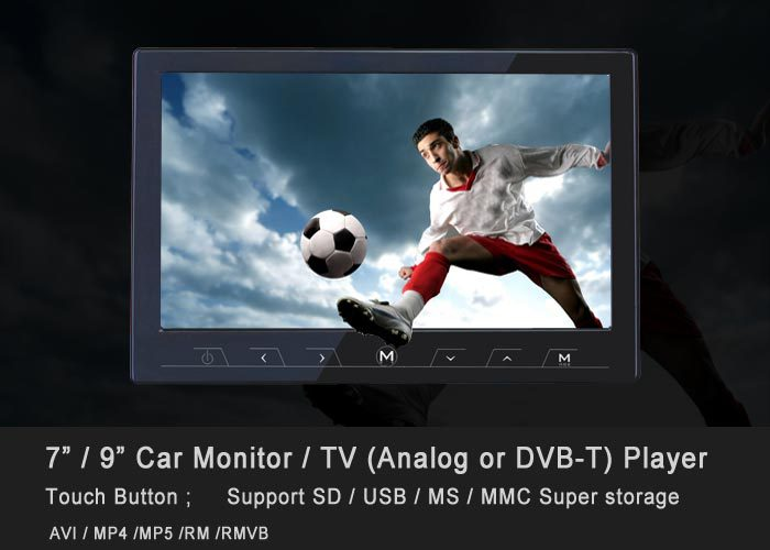 9 inch super slim car Analog LCD TV monitor with touch button,Support USB/SD,speaker,video,input AV In/Out,new model