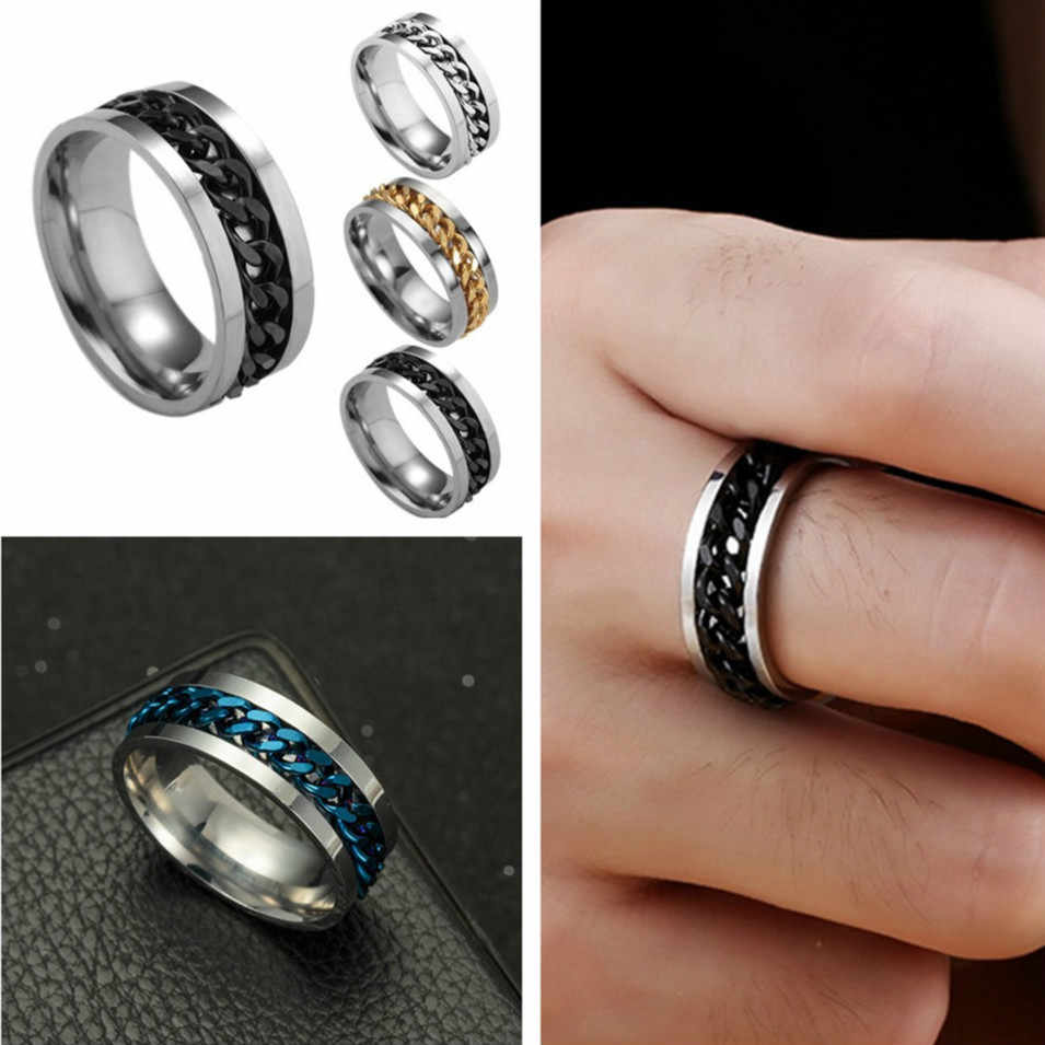 (1 Pcs/Sell) Noble Titanium Ring Men Chain Shackles Anti-allergy Smooth Simple Wedding Couples Rings Bijouterie for Woman Gift