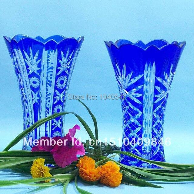 Bohemian Czech Cobalt Blue Cut To Clear Crystal Glass Flower Vase