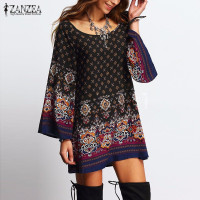 ZANZEA Women Dress 2018 Ladies Sexy Mini Vintage Print Dress O Neck Long Sleeve Floral Casual Ethnic Short Veatidos 1