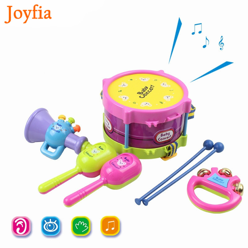 Inventive 5pcs/set Baby Musical Instruments Playing Set Toys Colorful Drum / Handbell / Trumpet / Cabasa Educational Toy For Children # Durable Service