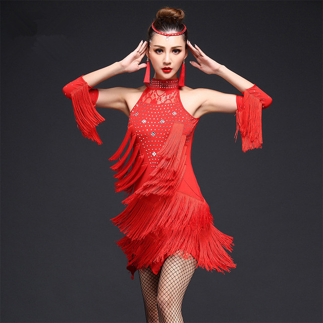 Robe De Danse latine Femmes Filles Sexy Fringe Salsa Salle De Bal Tango Cha  Cha Rumba 31e040daf15