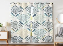 Blackout Curtains 2 Panels Grommet for Bedroom Simple And Stylish Scalloped Pattern Flower Dandelion