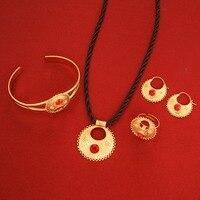 Cute And New Rhinestone Ethiopian Jewelry 24K Gold African Ethiopian Eritrean Women Wedding Jewelry Sets