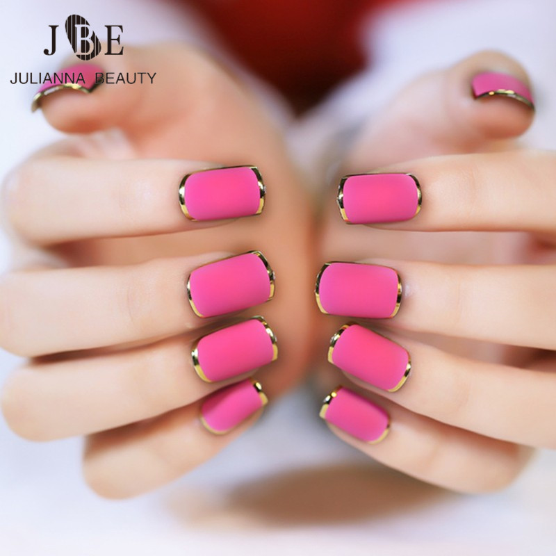 24Pcs French Manicure Fake Nails Decorated False Nails With Glue Faux Ongles Metallic Gold Nail Tips Sexy Lady Manicure Tools