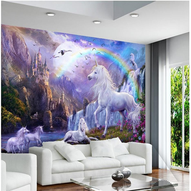 Wellyu Blue Aperture Custom 3D Wallpaper 3D Photo Mural Wallpaper Sky Falls Animal White Horse Wallpaper Landscape 3D
