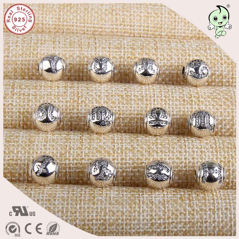 High Quality Popular Meaningful 12 Constellation Series 925 Real Silver Small Hole Charm Fitting Essence Charm