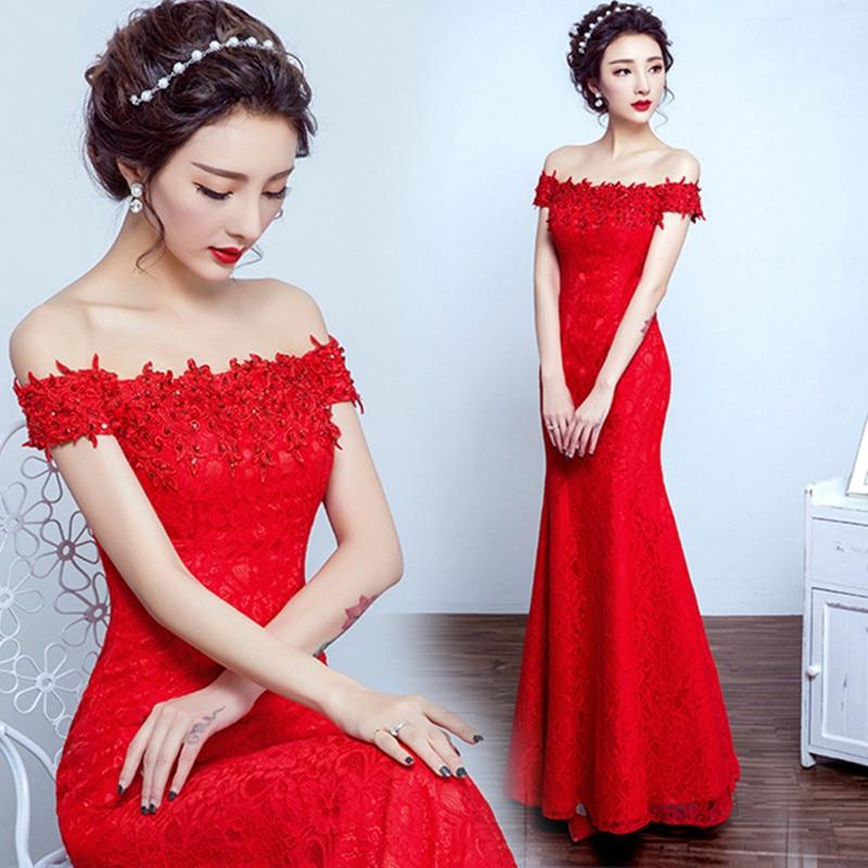 Robe de soiree 2019 rød bukett kjole av skulder fishtail Lace Up - Spesielle anledninger kjoler - Bilde 2