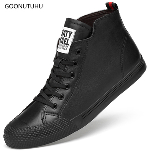 Image 1 - 2019 new autumn winter mens boots genuine leather cow work snow hip hop shoes ankle boot man black white lace up boots for men