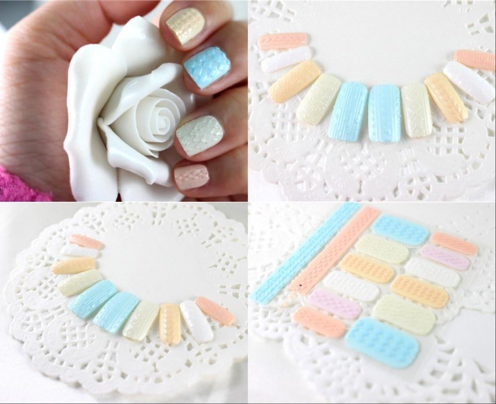 6 teilelos aufkleber des nagels 3d aufkleber stricken garn muster kunst nagel aufkleber bunte tipps kunst fr frauen mdchen schnheit 12 modell whlen in - Kunstnagel Muster