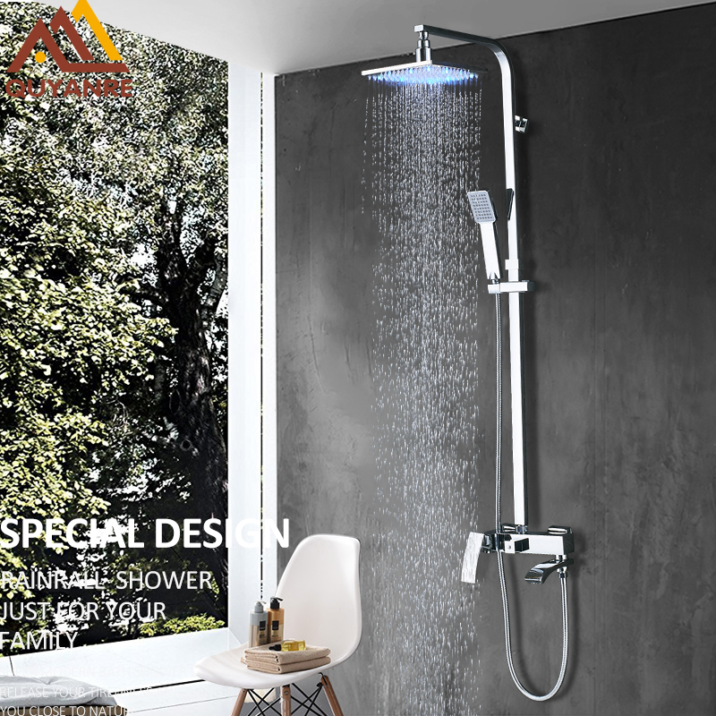 Quyanre Chrome LED Bathroom Shower Faucet Set LED Shower Head Waterfall Swivel Spout Single Handle Mixer Tap Bath Shower Faucet quyanre antique brass shower faucets set 8 rainfall shower head commodity shelf handle mixer tap swivel tub spout bath shower