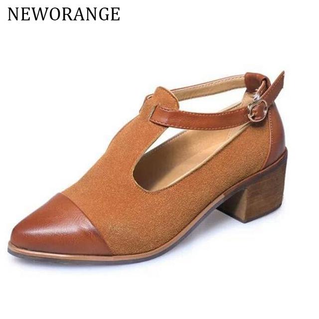 2017 de La Vendimia Oxford Zapatos Mujer Punta estrecha Recortable Med Talón Patchwork Hebilla de Zapatos de Las Señoras Pisos WFS112