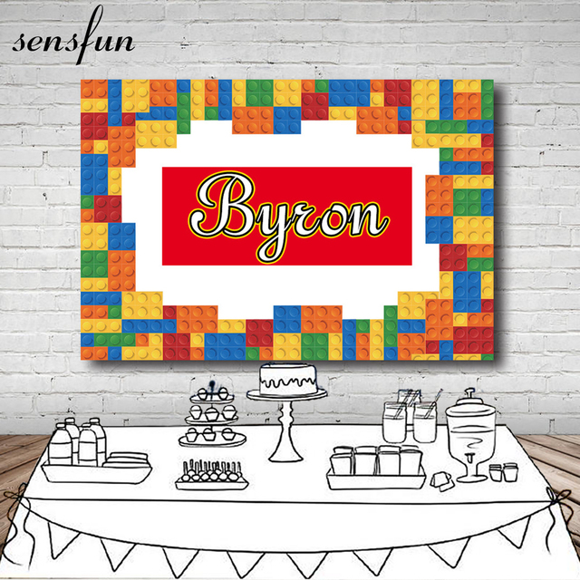 Sensfun Colorful Lego Photography Backdrop For Children Happy Birthday Backgrounds For Photo Studio Customize 7x5FT Vinyl