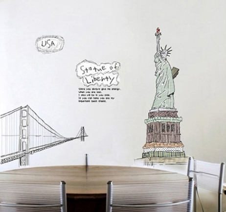 Large Usa Statue Of Liberty Wall Stickers Decals Famous Buiding Vinyl Paper  Mural Living Room Classroom