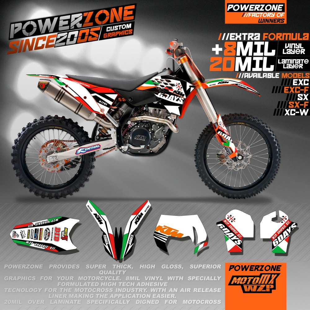 Customized Italy Style Team Graphics & Backgrounds Decals Stickers KTM SIXDAYS SX SXF XCW XCF EXC 125 250 300 350 450 530 - PowerZone Co.,Ltd store