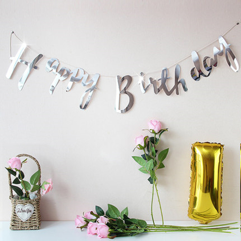 Glitter Paper Birthday Party Hanging Bunting Banner Flag: Gold Silver Plated Glitter Letters Happy Birthday Bunting