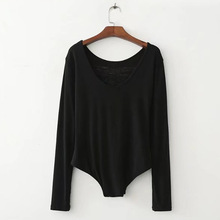 Free Shipping Women Bodysuit Skeleton Black Print O-Neck Long Sleeve