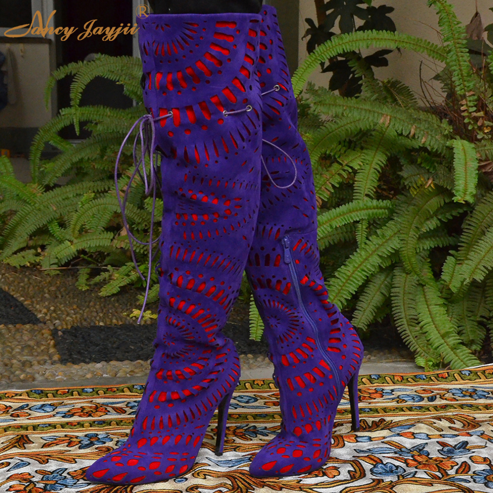 Luxury Purple Floral Highland Sheep Suede Boots Cat-Out Flower Spring Winter Over-the-Knee Boots Women Brand Shoes Nancyjayjii the highland fling murders