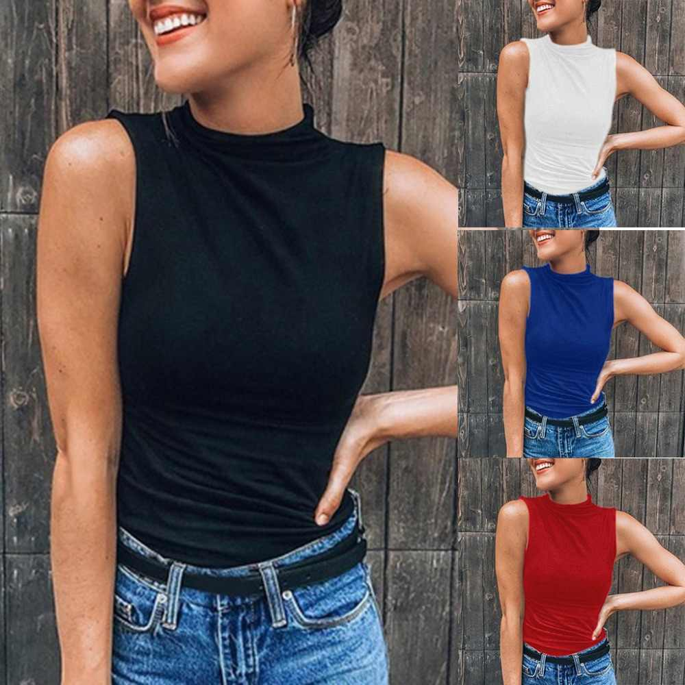 2019 nieuwe zomer hot Sexy vrouwen Mouwloze Coltrui Solid Casual Tank Top T-shirt Plus Size debardeur femme ellesse vadim # F7