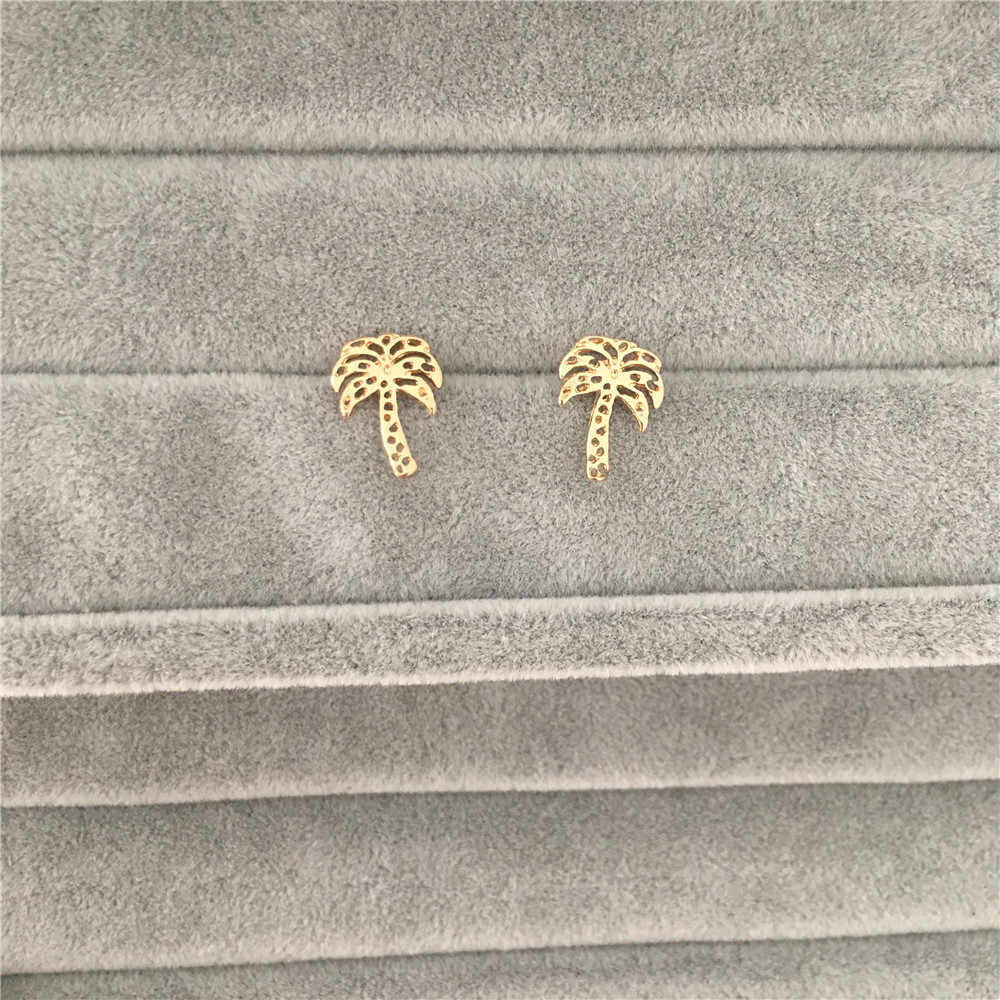 HOT SUMMER TRENDY CUTE GIRLY GOLD COLOR COCONUT TREE PALMTREE STUD EARRING FOR GIRL WOMAN MAN