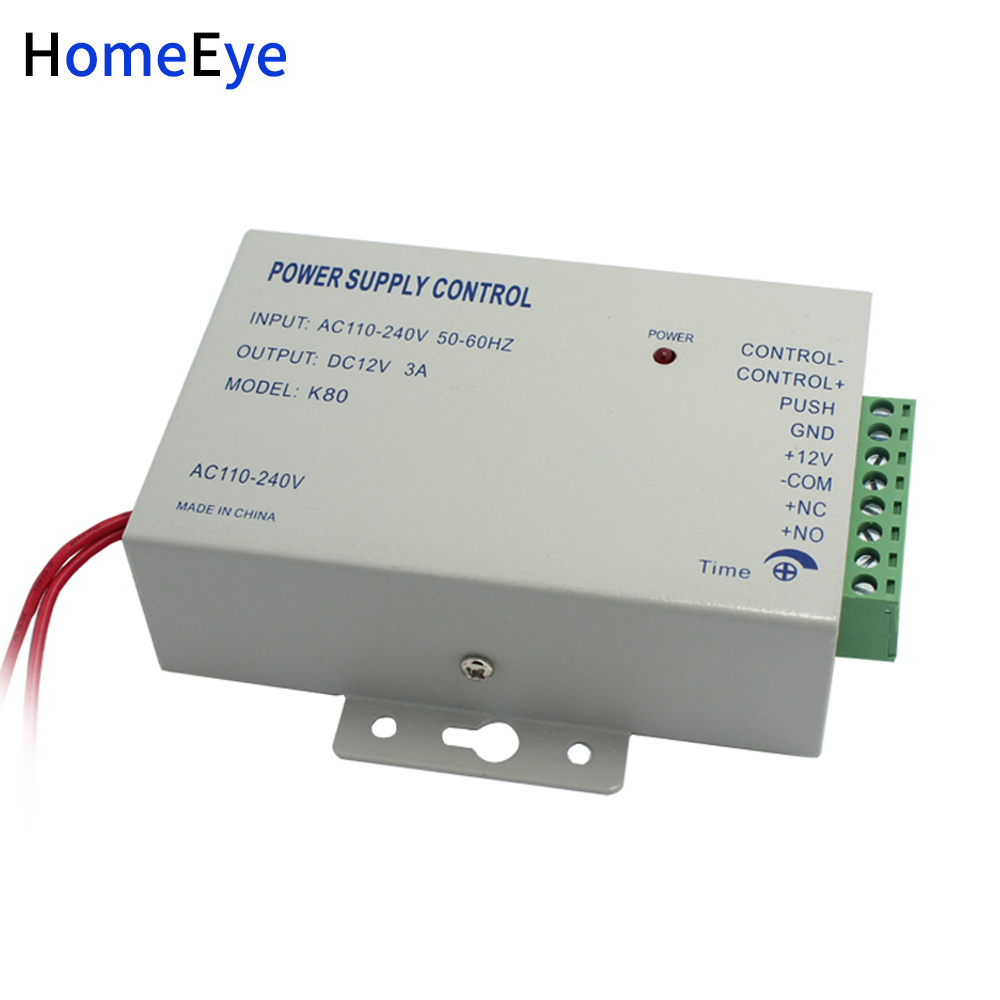 HomeEye AC 100-260V DC 12V 3A Power Supply Switch For Door Access Control System Switch Delay Time Max 15 Second