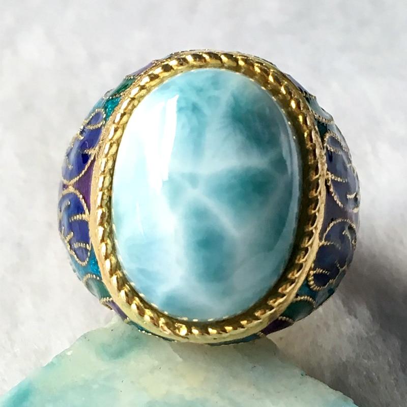 Larimar naturale anello in argento, di forma ovale 12mm * 16mm, rare blu larimar pietra, moda e popolare per le parti