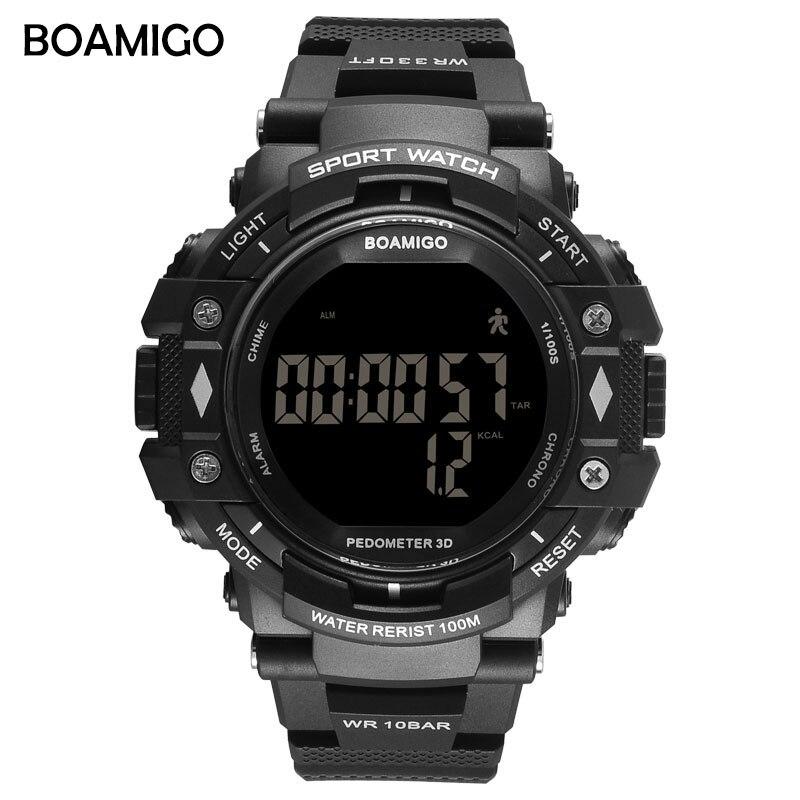 BOAMIGO choc Hommes Numérique Sport Militaire Montres Led De Bain 100 m Étanche podomètre calories homme montre smart watch Relogios Masculino