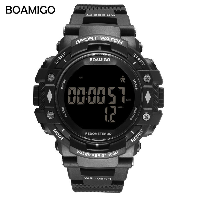 BOAMIGO shock Men Digital Sports Military Watches Led Swim 100m Waterproof pedometer calorie man smart watch Relogios Masculino