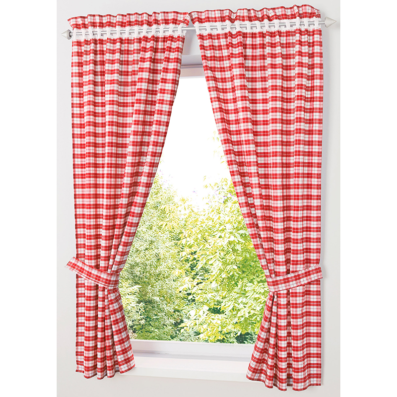 Pastoral Red/ Blue Plaid Short Curtains For Kitchen Window Treatments Kids Room Curtains For Bedroom Living Room Roman Blinds