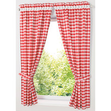 Pastoral Red/ Blue Plaid Short Curtains for Kitchen Window Treatments Kids Room Curtains for Bedroom Living Room Roman Blinds(China)