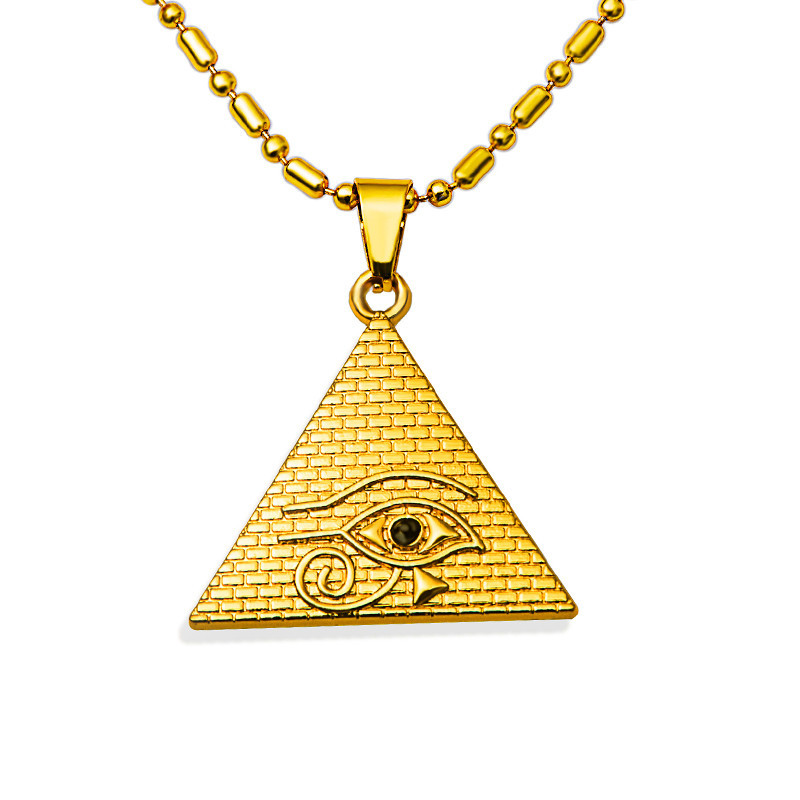 product 1pcs hip hop rock eyeballpyramid triangle pendent evil eye necklace gold filled chain colar bara N200