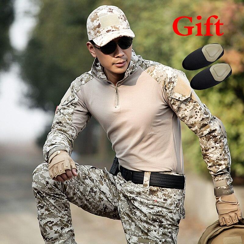 Laborioso Uomini Desert Army Combattimento Tattico Militare Caccia Camicia Degli Uomini Della Camicia Manica Lunga Formazione Camouflage T-shirt Escursioni Sport Camicia