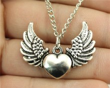 Hot Selling New For Women Jewelry Accessories 36*27mm wing heart pendant long necklace Wholesale Cheap Aliexpress